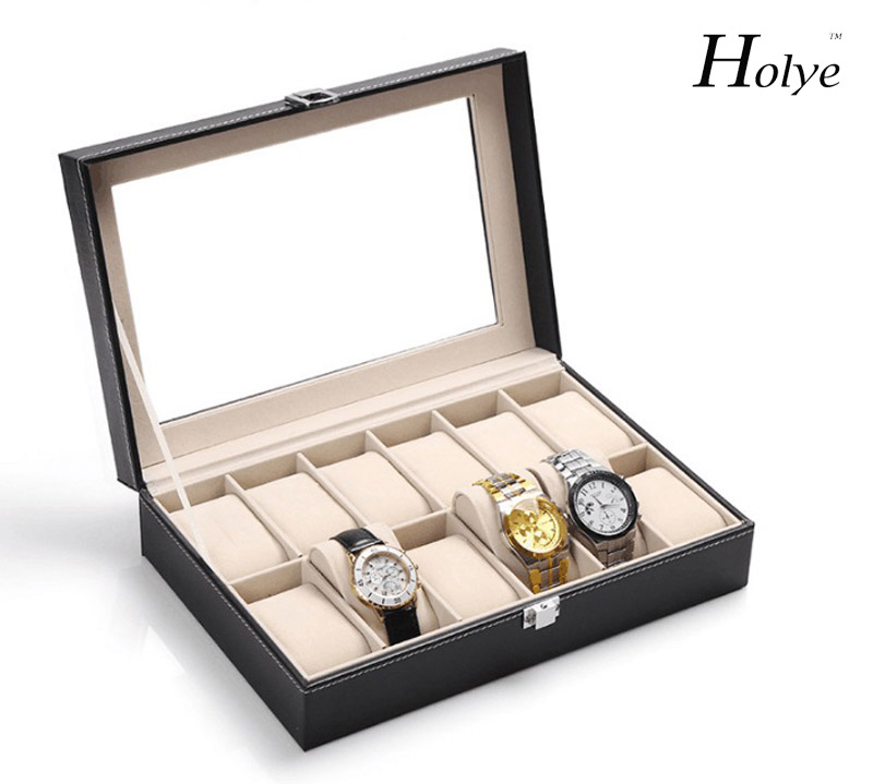 Hot sale New Arrival ClassicPU Leather Watch Jewelry Box 12 Slots Wrist Watch Display Box Jewelry Storage Holder Organizer Case best price mgehr1212 2 slot cutter external grooving tool holder turning tool no insert hot sale brand new