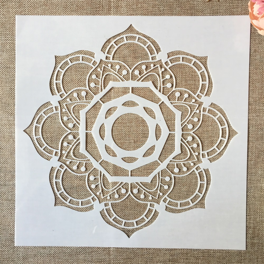 1Pcs 12*12inch Flower Mandala Octagon DIY Layering Stencils Painting Scrapbook Coloring Embossing Album Decorative Template