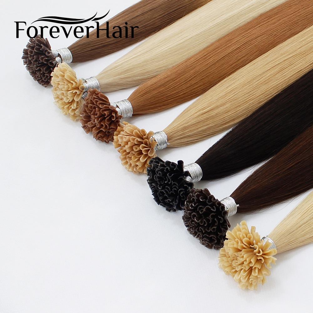 FOREVER HAIR 0.8g / s Extensiones de cabello humano Remy U Tip con - Cabello humano (blanco) - foto 3