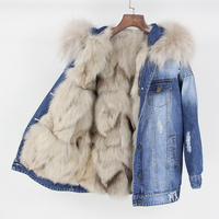 Зимняя куртка пальто Новинка 2019 года осень для женщин джинсовая куртка с дырками реального большой енота меховой воротник с капюшоном нату