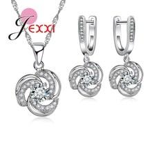 JEXXI Rhinestone Joyería Nupcial Establece Mujeres Flor de La Manera Elegante de Ley 925 Colgante de Plata Collares Pendientes de La Boda Fijados