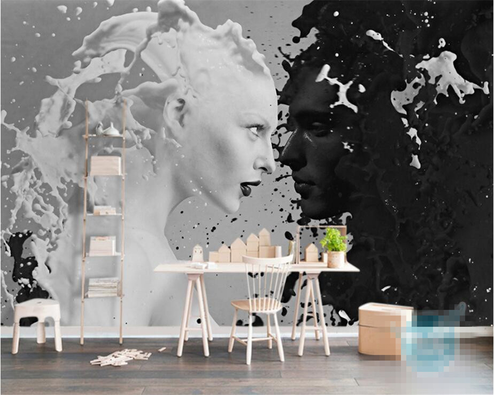 Incredible Us 8 85 41 Off Beibehang Custom Wallpaper European Creative Inkjet Black And White Couple Looking Back Sofa Tv Background Wall 3D Wallpaper In Ocoug Best Dining Table And Chair Ideas Images Ocougorg