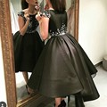 Ball Gown Puffy Tea Length Black Satin Evening Gowns Saudi Arabia Women Formal Dresses With Small Flowers