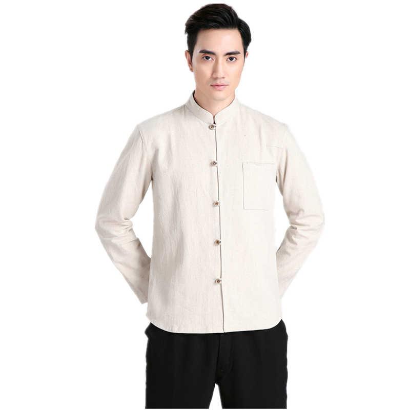 Miễn phí Vận Chuyển Trung Quốc Truyền Thống Kung Fu Tops Dài Tay Áo Tang Phù Hợp Với Quần Áo Cho Nam Giới Cotton Linen Shirt/Beige/Dark Blue/Red