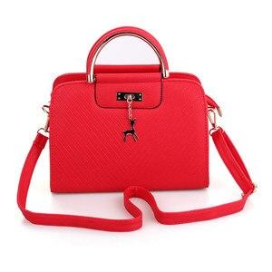 Image 3 - Модная сумка 2020 Новая женская кожаная сумка, вместительные сумки на плечо, повседневная сумка тоут, простые ручные сумки с верхними ручками, декор в виде оленя