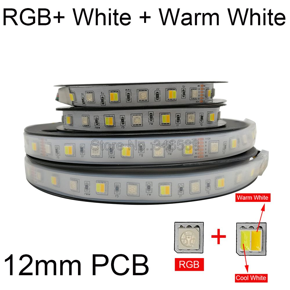 5m RGB+CCT <font><b>LED</b></font> Strip RGB + CW+WW 2 in 1 5050 SMD <font><b>Led</b></font> Tape <font><b>Led</b></font> <font><b>Stripe</b></font> Bar Light String Holiday Decoration Lights 12V <font><b>24V</b></font> 12mm PCB image