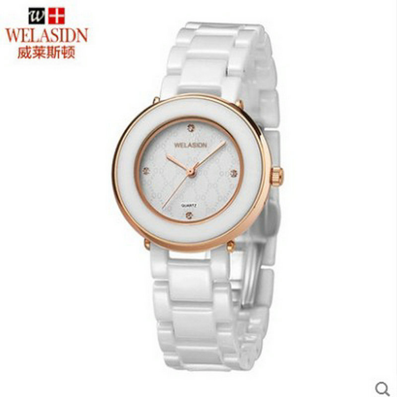 ФОТО Promotion Quality watches female Korean ladies quartz ceramic table Crystal Princess Wristwatches Girl Feminino Lovely Couple