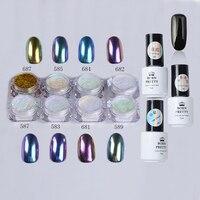NÉS JOLIE 1 Set Shinning Caméléon Miroir Ongles Glitter Poudre avec Noir UV Nail Gel Polonais Chrome Pigment Poussière Kit
