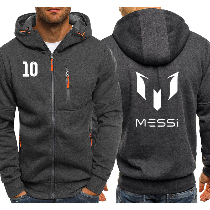 Fashion Sweatshirt Messi 10 Printed Hoodies Men Streetwear Fleece Warm Zipper Hooded Casual Jacket Hip Hop Harajuku Tracksuit