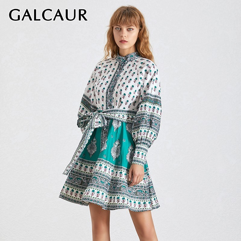 Kadın Giyim'ten Elbiseler'de GALCAUR Vintage Baskı kadın Elbise Standı Yaka Fener Kollu Yüksek Bel Bandaj Hit Renk Elbiseler Kadın Moda 2019'da  Grup 1