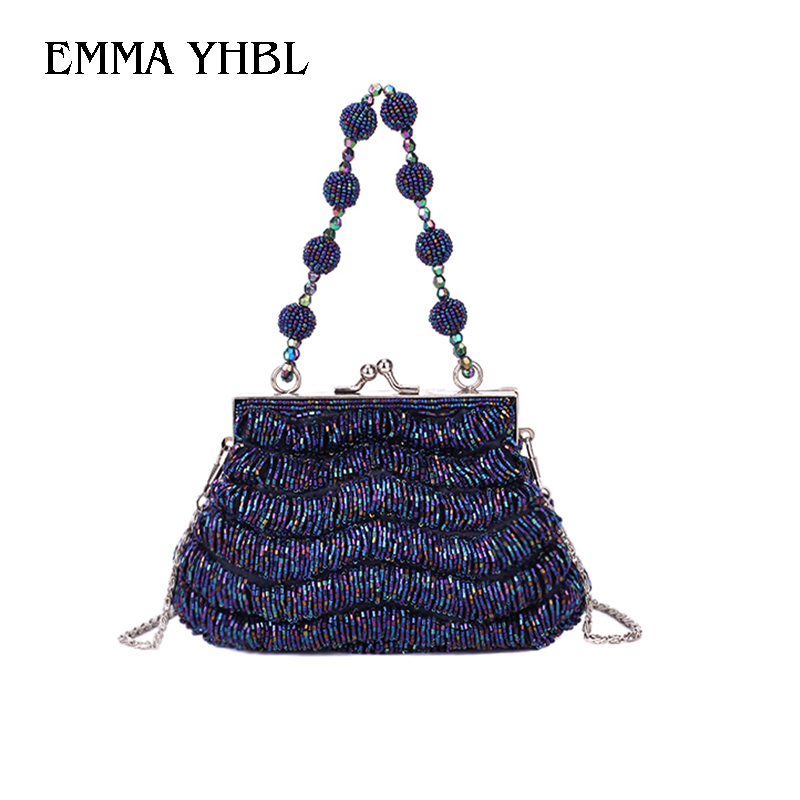 EMMA YHBL 2019 ethnic style retro bag women 39 s buckle beaded handmade beaded embroidered dinner handbag qipao banquet lady bag in Shoulder Bags from Luggage amp Bags