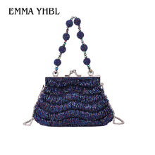 EMMA YHBL  2019 ethnic style retro bag womens buckle beaded handmade embroidered dinner handbag qipao banquet lady