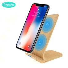 Qi Wireless Charger Induction Charging Docking Station Chargeur Bamboo Wood For Iphone Xiaomi mi 9T Huawei P30