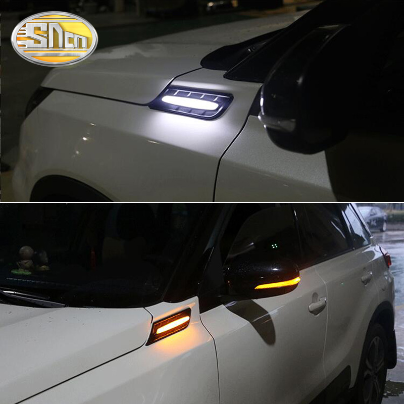 SNCN 2PCS LED Daytime Running Light For Suzuki Vitara 2015 2016 2017 2018 Car Fender Side Lamp Turning Signal Light 12V DRL Bulb