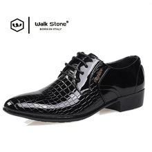 New Brand Crocodile Men's Patent Leather Fashion Oxford Man Pointed Toe Formal Wedding Shoes Male Flats Dress Shoe Footwear Size