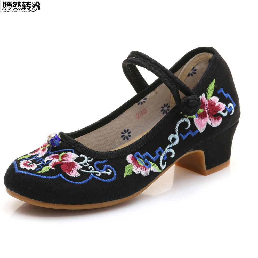 Escarpins femme Style mixte broderie ethnique florale toile talon carré chaussures femme Mary Jane chaussures Zapatos Mujer Tacon