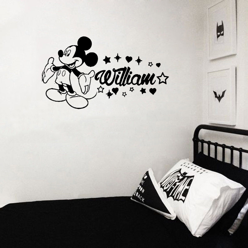 Stizzy Wall Decal Mickey Mouse Personalized Name Wall Stickers For