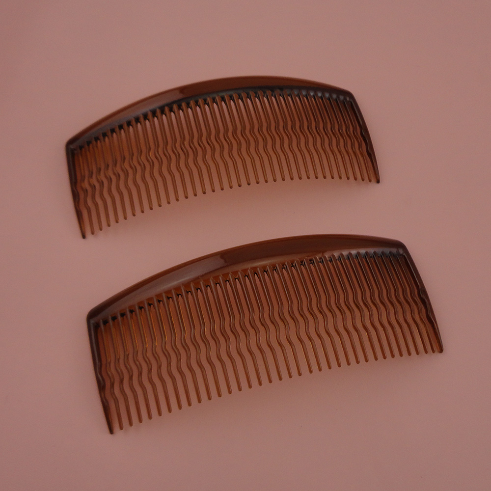 10PCS 5.0cm*12.0cm 36teeth Transparent dark Brown plain Plastic Combs with waved teeth diy hair accessories coffee side comb
