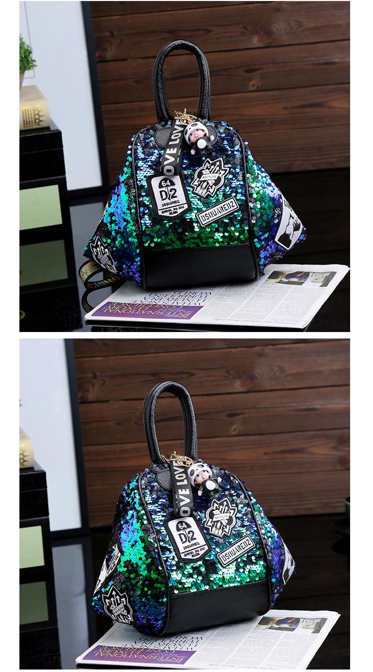 backpack women Fashion Women Bling Shiny Sequins Sparkling Shoulder Bags Larger Capacity Drawstring Bag backpack 82