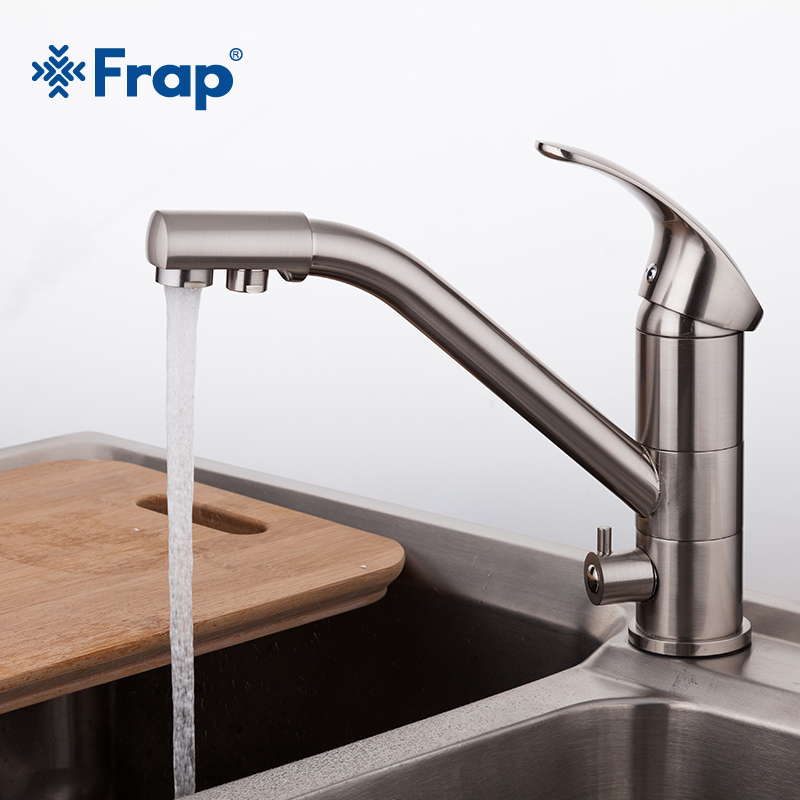 High-end Brass Body Nickel Brushed Kitchen faucet sink Mixer tap 360 degree rotation with Water purification features F4321-5