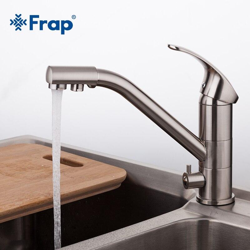 High-end-Messing Körper Nickel Gebürstet Küche wasserhahn waschbecken mischbatterie 360 grad rotation mit Wasser reinigung merkmale F4321-5