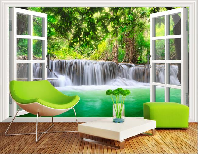 Buy custom 3d mural 3d forest waterfall for Nature wallpaper for bedroom