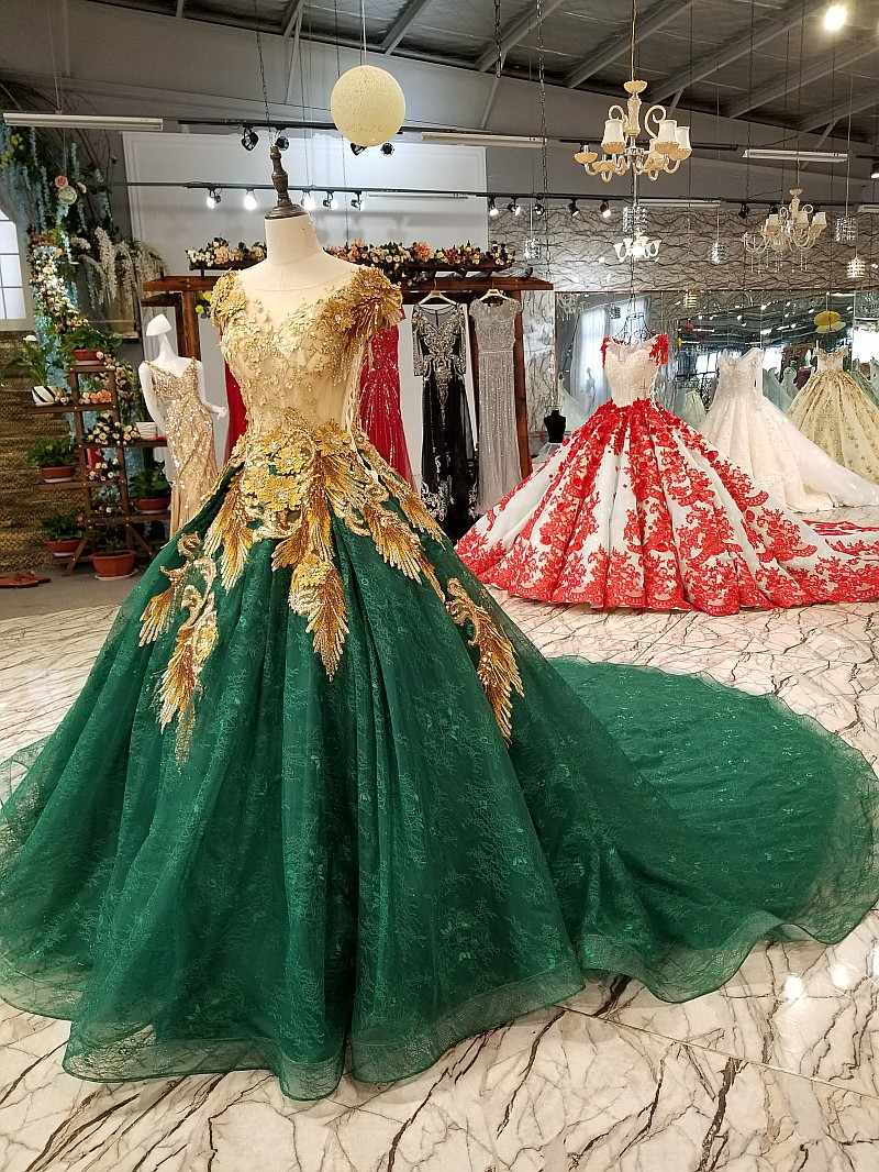 a5bd038de34 ... Amazing Gold Lace and Dark Green Sexy Prom Dresses Beads Luxury Evening  Party Dresses Robe de