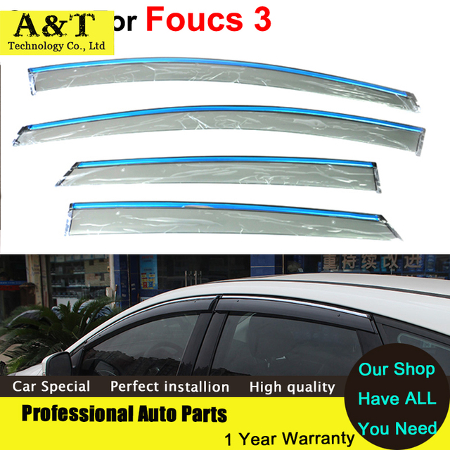 car styling Window Visors For Ford Foucs 3 Sedan Hatchback 2012 2013 2014 2015 Sun Rain Shield Stickers Awnings Shelter Car Acce