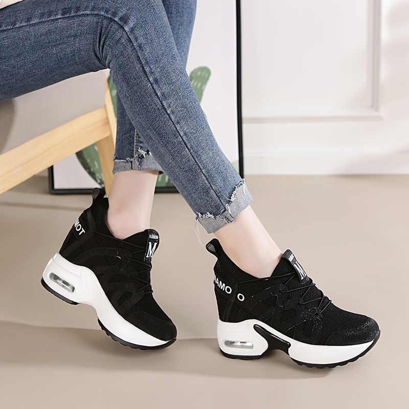 f3fba9cf403 ... Dumoo Girl Casual White Sneakers Shoes Women High Heel 9cm Leisure  Platform Wedges Height Increasing Lady ...