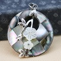 Hot sale 40mm Natural color Grid Abalone White flower seashells pendants  jewelry making crafts Ethnic Chic gifts Series