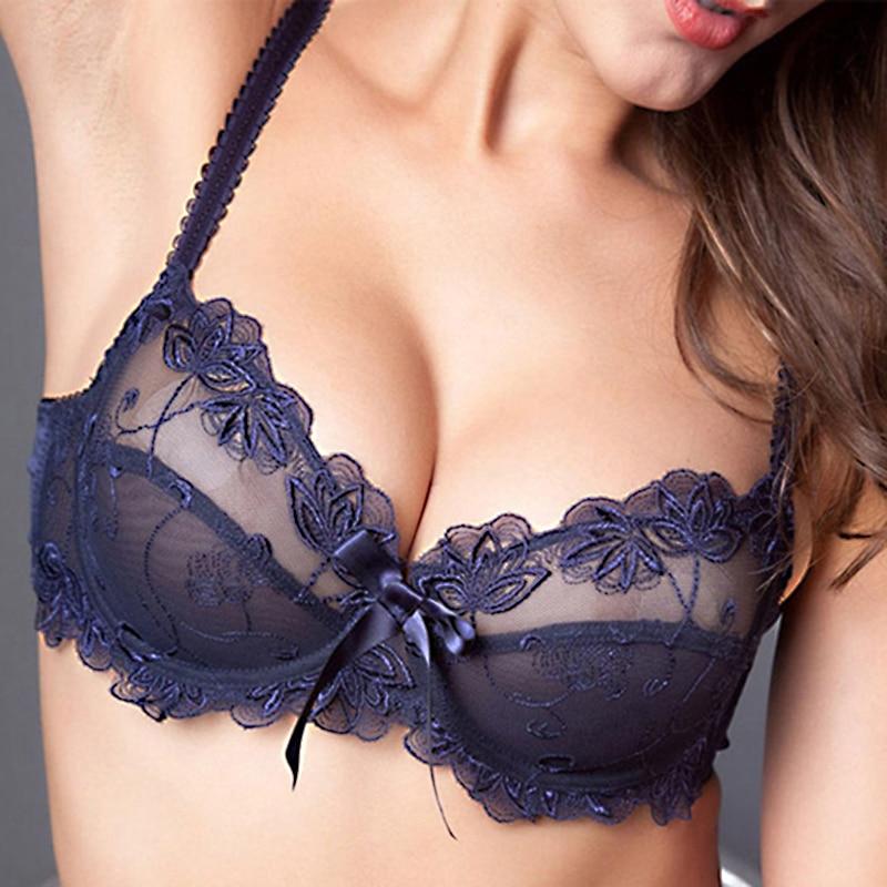 Fashion embroidery bras underwear women set plus size lingerie sexy C D cup Ultrathin transparent bra panties lace bra set black