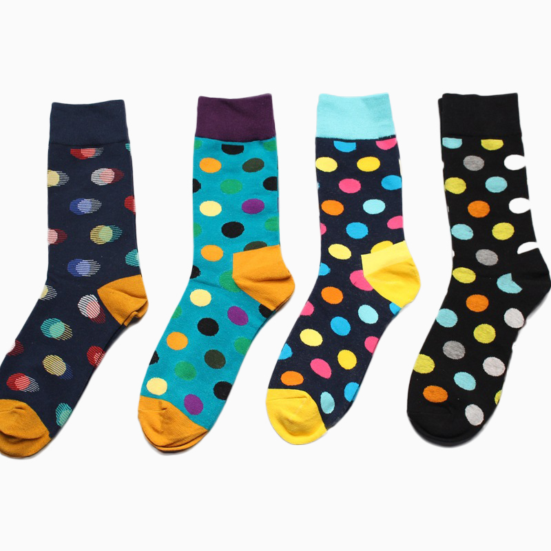 PEONFLY Funny Socks Men Cotton Autumn Circle Point Happy Socks 4PAIRS/LOT Best Sellers Meias Homens Meia