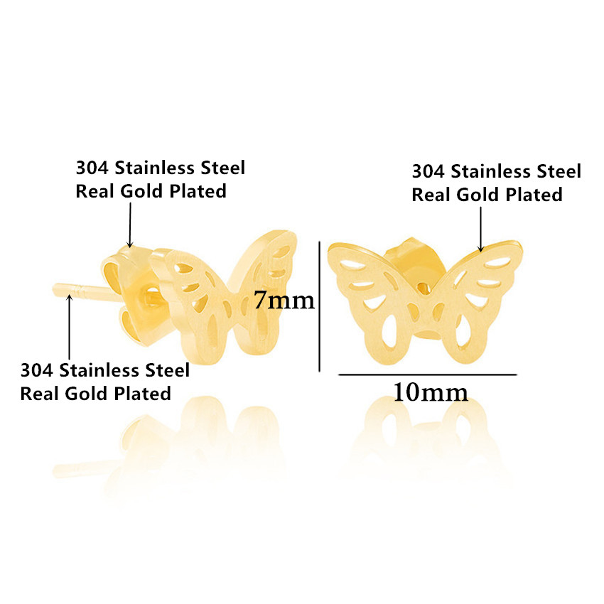 Dainty Lovely Butterfly Pendant Necklace & Stud Earrings For Women Girl Trendy Jewelry Set Gold Silver Stainless Steel Schmuck 4