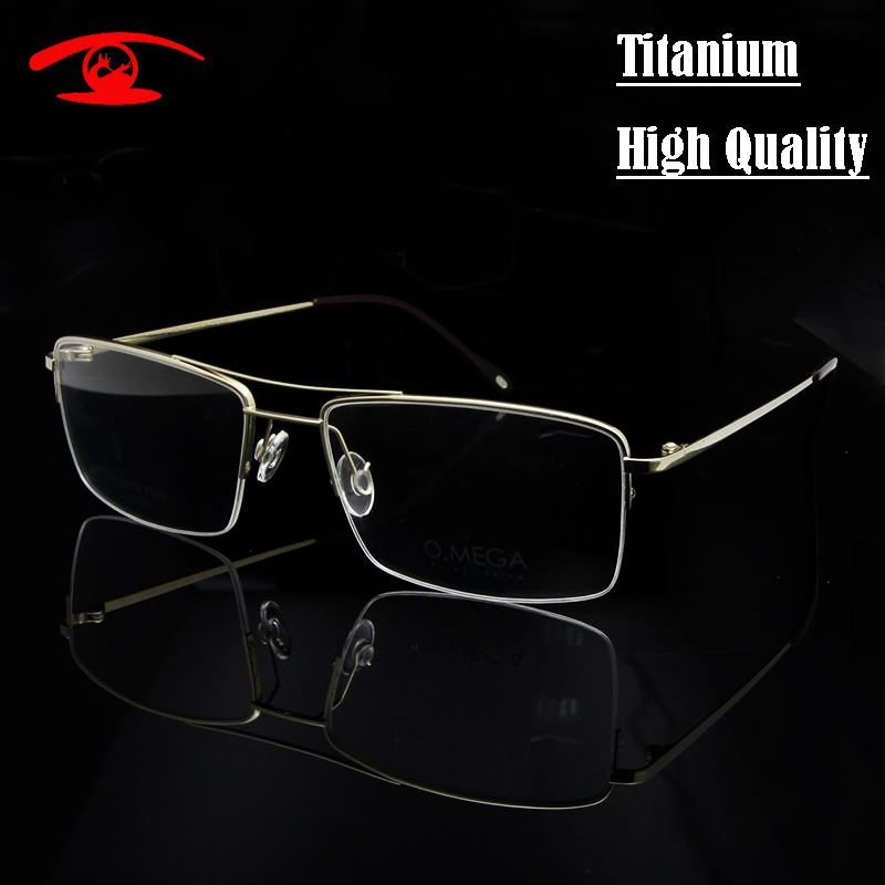 Haute qualité titane pur lunettes cadre hommes demi jante lunettes cadres pilote prescription lunettes en lentille claire