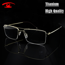 High Quality Pure Titanium Eyeglasses Frame Men Half Rim Glasses Frames Pilot prescription glasses in Clear Lens