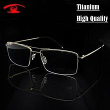 High Quality Pure Titanium Eyeglasses Frame Men Half Rim Glasses Frames Pilot prescription glasses in Clear Lens