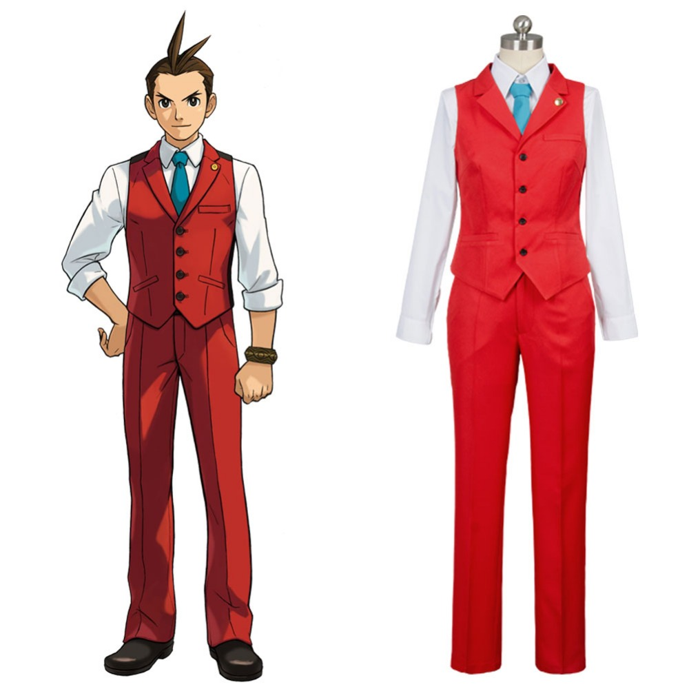 Gyakuten Saiban 4 Apollo Justice: Ace Attorney Polly Red Lawyer Suit Cosplay Costume Full Sets image