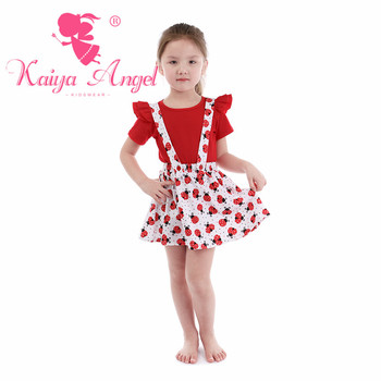 Kaiya Angel Toddler Girls Summer Clothing Boutique Kids Red Cotton Short Sleeve Top Overalls Dresses 2 pcs Suit Wholesale