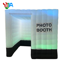 цена Hot 2.5m One Door Inflatable Photo Booth backdrop With LED lights and Inner Air blower Air cube Tent For Wedding, Party, Event в интернет-магазинах
