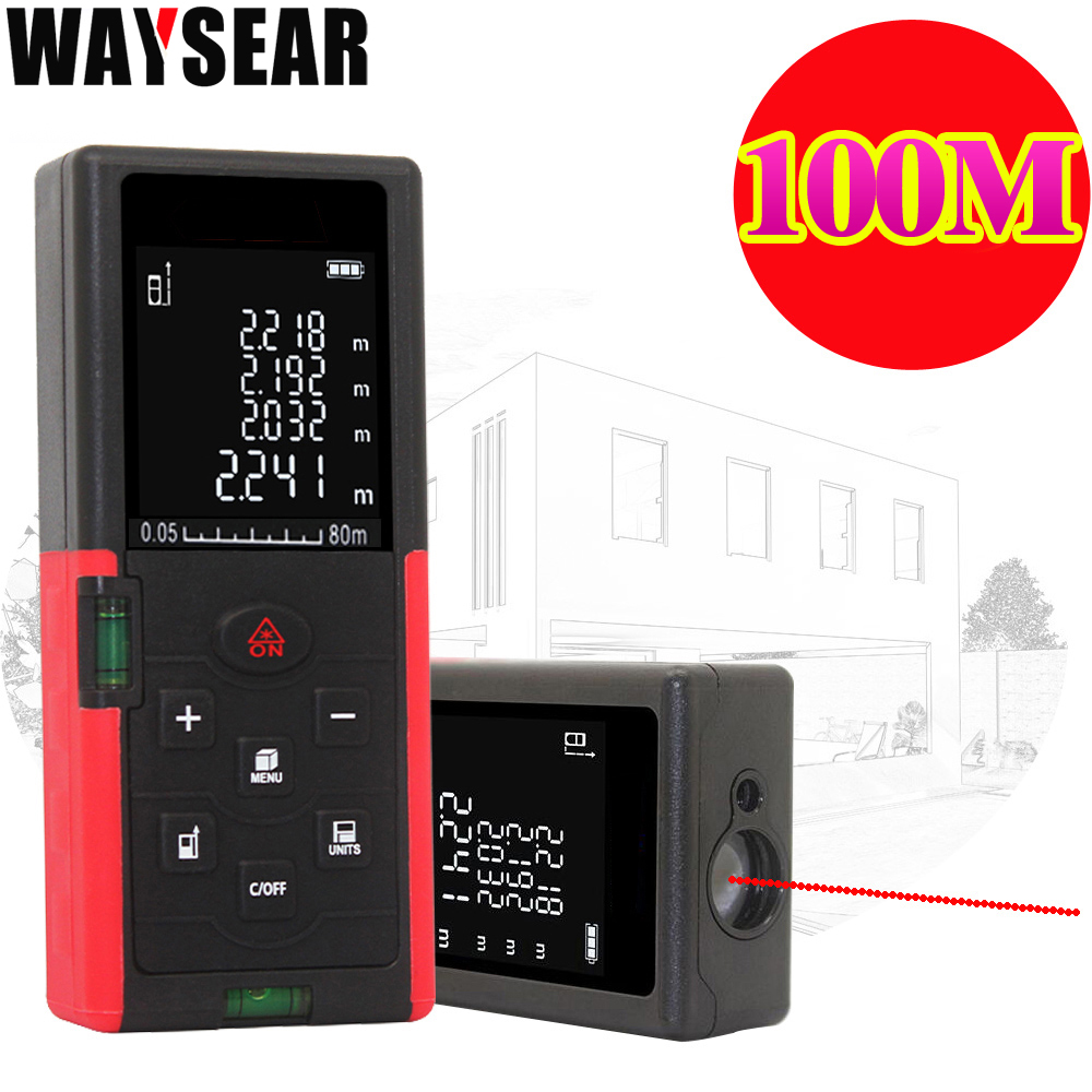 Waysear 40 m 60 M 100 M télémètre laser numérique laser mètre de distance laser Roulette règle trena ruban à mesurer gamme finder outils