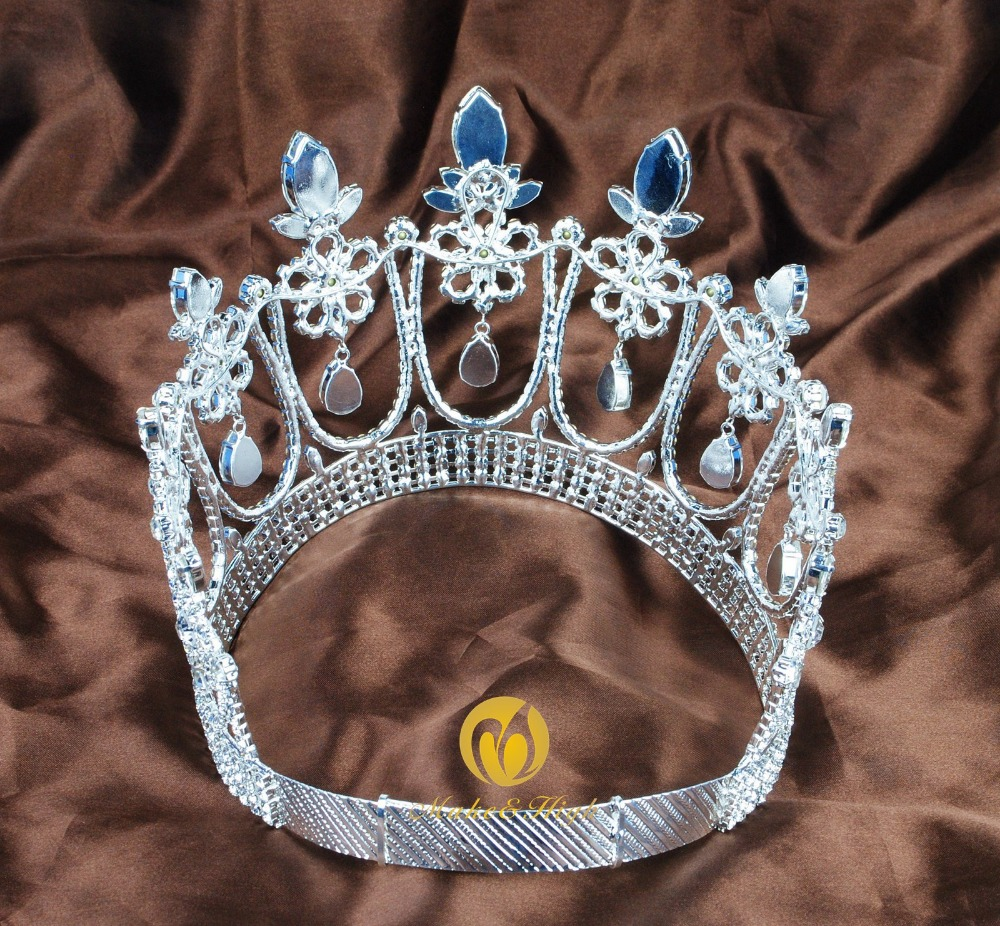 Gorgeous Large Tiara Diadem Wedding Brides Crown Crystal Headpiece Prom Costumes