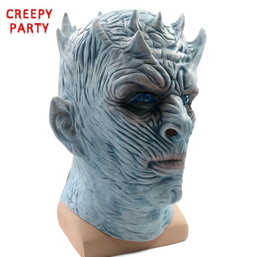 Jeu de trônes masque Halloween nuit roi marcheur visage nuit RE Zombie Latex masque adultes Cosplay trône Costume fête masque