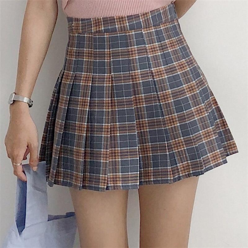 XS-2XL New Preppy Style Women Skirt High Waist Sexy Mini Plaid Skirts Plus Size Pleated Skirt Cute Sweet Female Dance Skirts