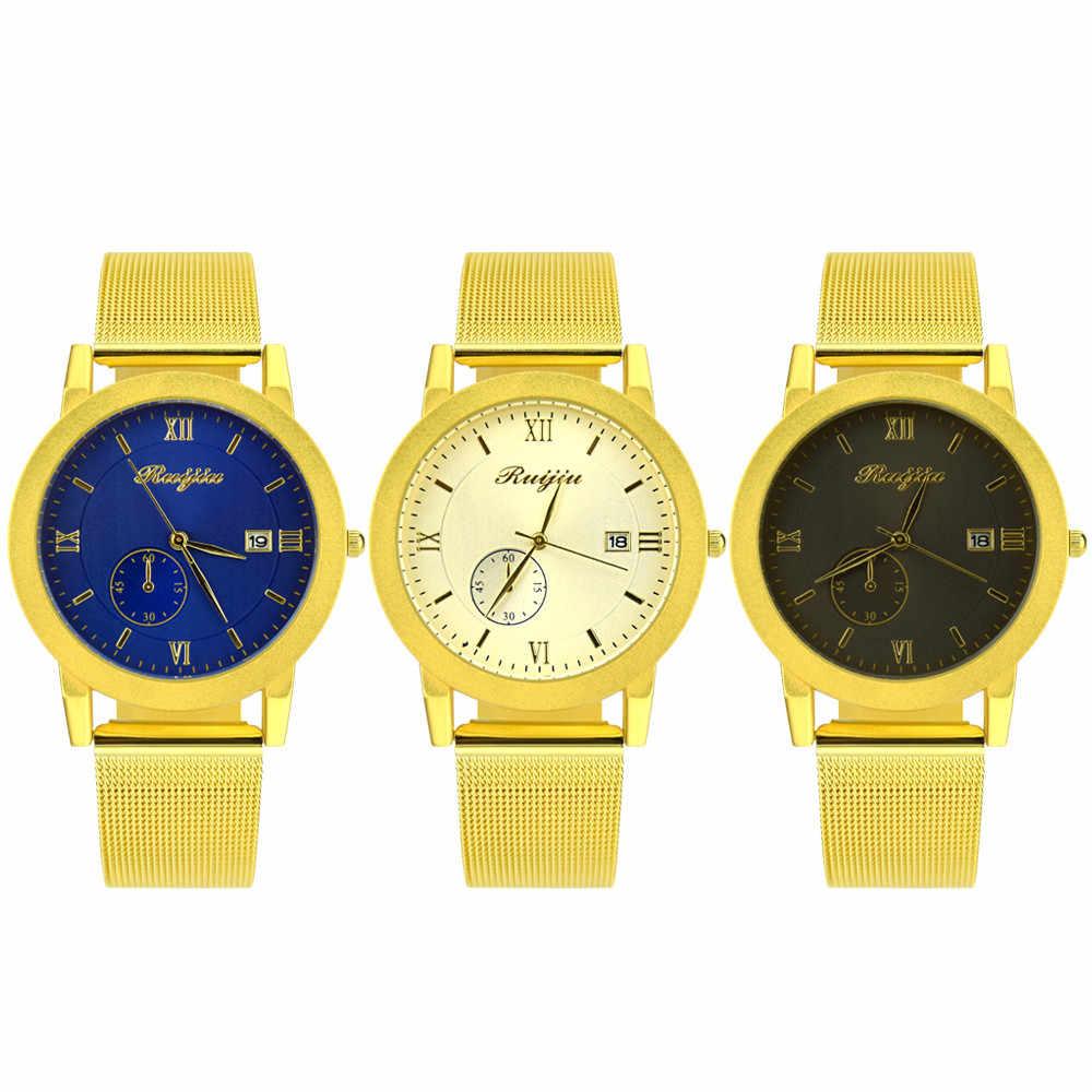 ผู้หญิงคลาสสิกนาฬิกาข้อมือผู้ชายสายนาฬิกาควอตซ์ปฏิทินนาฬิกา часы жнск สแตนเลสนาฬิกาผู้หญิง gold erkek50