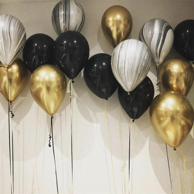 Gold and Black Latex Balloon Marble Metallic Balloon Chrome Balloons Wedding Adult Birthday Party Photography Props Decor