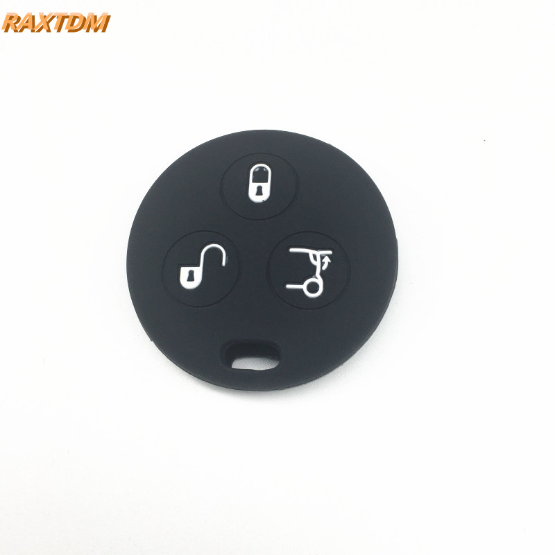 Key Case Silicone car Key Cover case for Benz Smart City Fortwo Roadster 3button Remote Key Color Name: Black