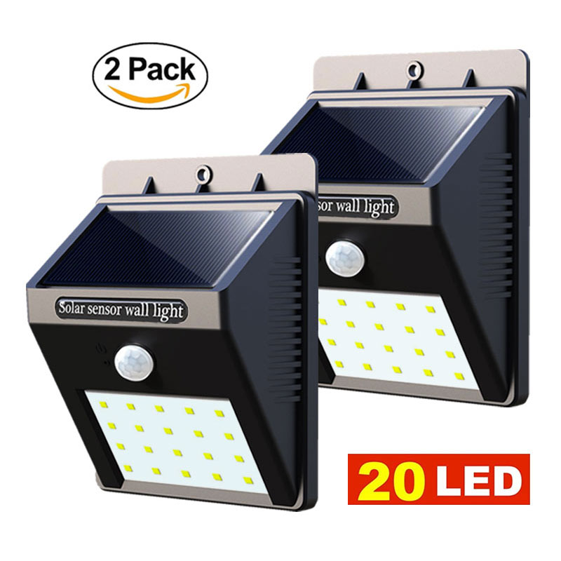 2 Unids Led Luz Solar Jardín 20 LED Sensor de Movimiento Luces de Pared Patio Al Aire Libre Impermeable PIR Home Street Lámpara Solar 2 PACK