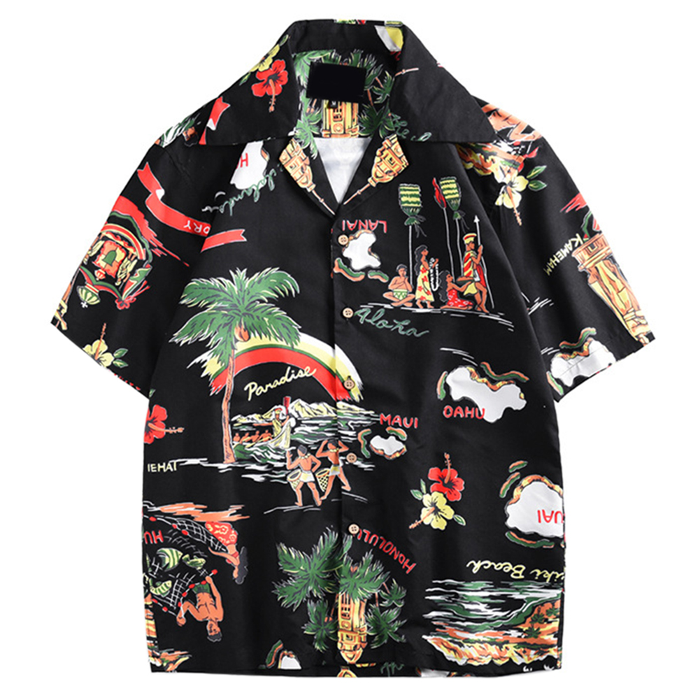 Men Holiday Shirt Men Hawaiian Beach Shirts Summer Short Sleeve Printing Loose Shirts Single-breasted Casual Shirt