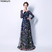 YIDINGZS Women's Formal Dress 8 Colors Flower Embroidery 3/4 Sleeves Prom Party Dresses