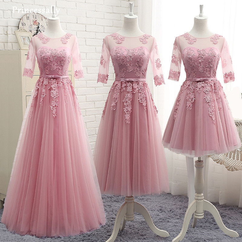Dusty Pink Bridesmaid Dress Appliques Lace Tea-length Half Sleeved  Robe De Doiree Formal Prom Party Gown The Bride Elegant Gown 貓 帳篷